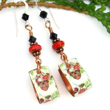 dia de los muertos skull earrings