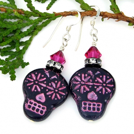 dia de los muertos sugar skull earrings pink and black