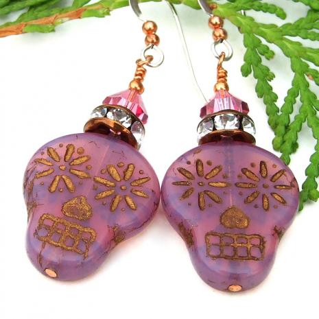 dia de los muertos sugar skull earrings with crystals