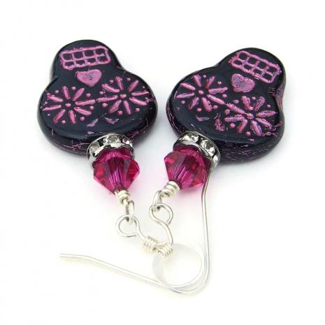 dia de los muertos sugar skull jewelry pink and black