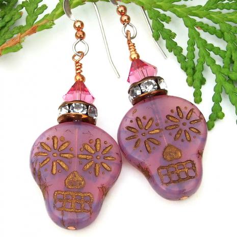 dia de los muertos sugar skull jewelry with crystals