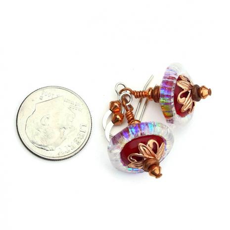rainbow and red lampwork jewelry handmade gift
