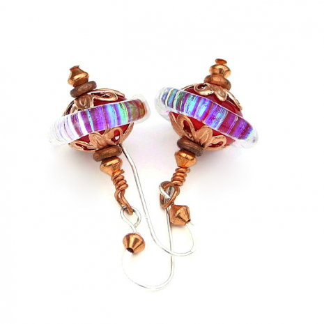 red lampwork glass with rainbow dichroic jewelry gift for her