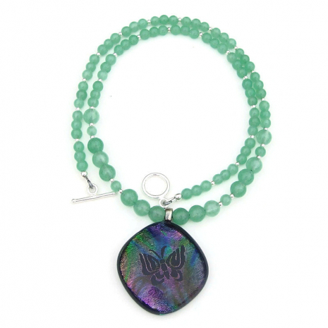 dichroic butterfly pendant necklace gift for women