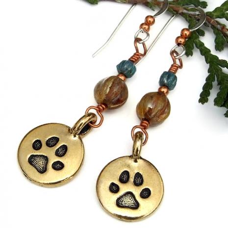 dog best friend paw print earrings