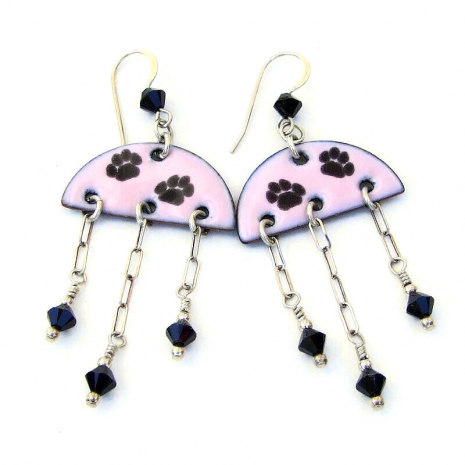 dog cat paw print earrings gift for women