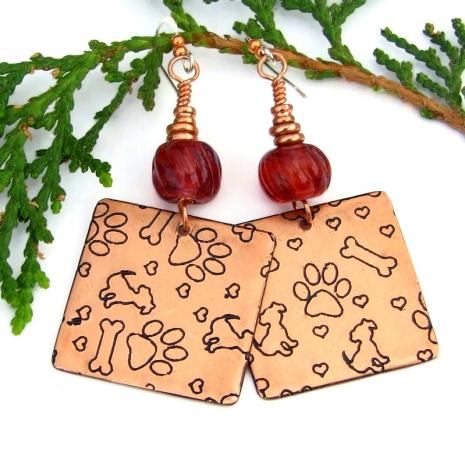dog friend earrings copper raspberry lampwork