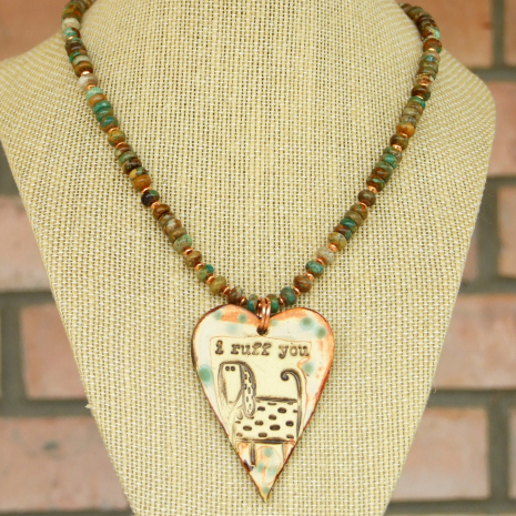 dog heart necklace for women turquoise