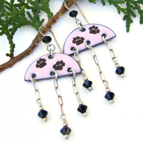 dog lover cat paw print earrings enamel swarovski crystals
