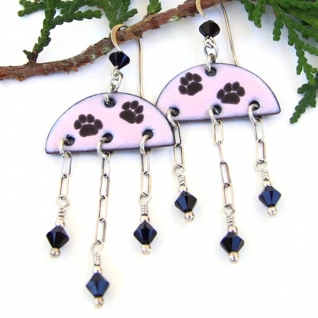 dog lover cat paw print jewelry enamel swarovski crystals