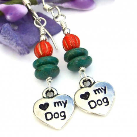 dog lover dangle earrings handmade