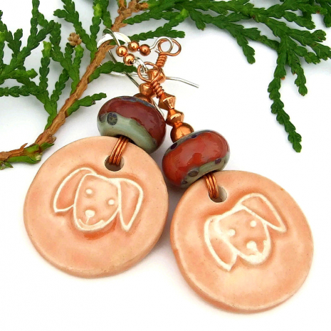 dog lover earrings ceramic and lampwork