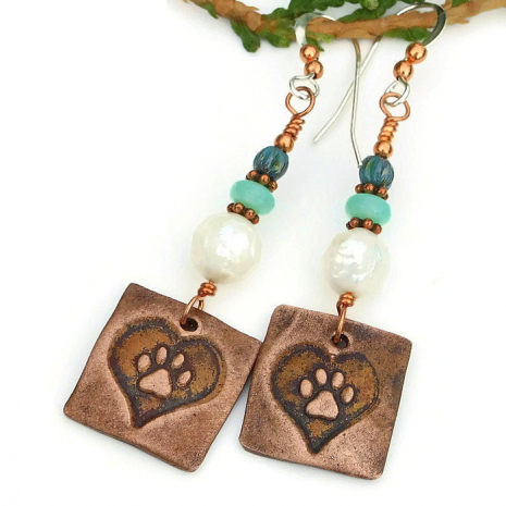 paw print and heart dog earrings