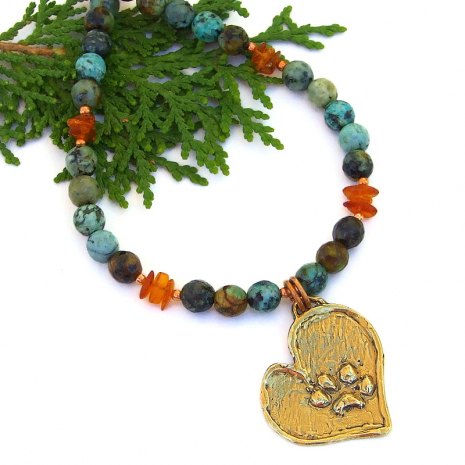 dog lover necklace heart paw print african turquoise amber