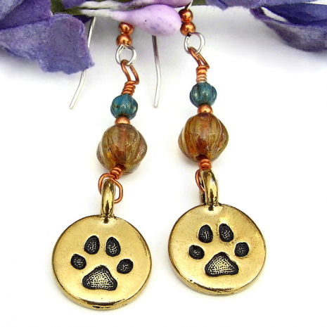 dog lover paw print earrings