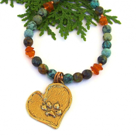 dog lover paw print heart jewelry african turquoise amber