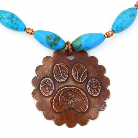 dog lover paw print pendant necklace gift for women