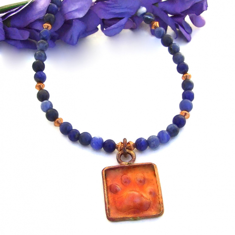 dog lover paw print pendant necklace with blue sodalite gemstones