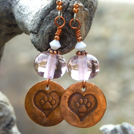 dog paw print earrings gift for women