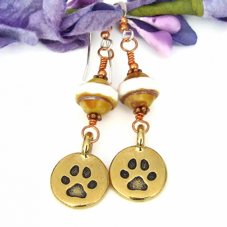 Dog Paw Print Earrings, Gold Pewter Handmade Jewelry Gift Women