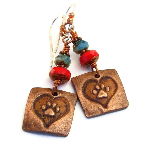 dog paw print heart handmade earrings gift for women