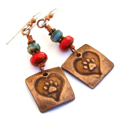 dog paw print heart handmade jewelry gift for women