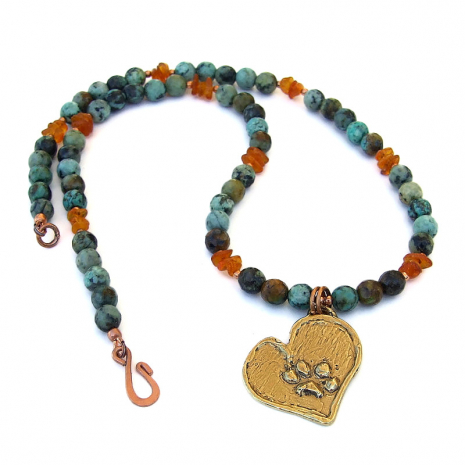 dog paw print heart pendant necklace gift for women