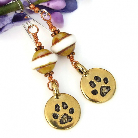 gold dog paw print jewelry for her