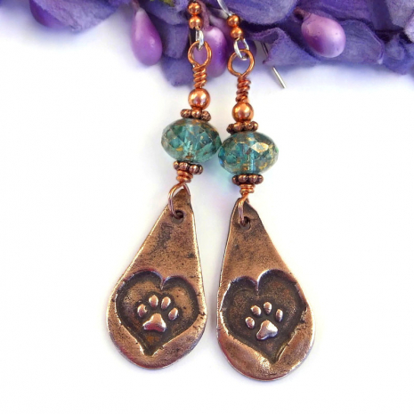 dog paw print jewelry with aqua Czech glass