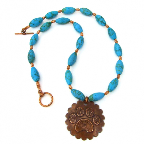 dog paw print necklace turquoise magnesite copper
