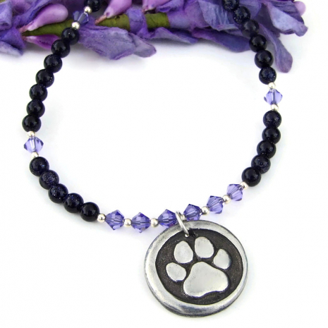 dog paw print rescued necklace with purple goldstone and Swarovski crystals