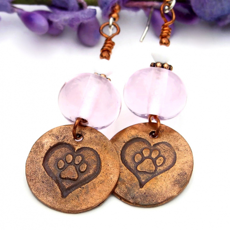 dog paw prints and hearts dangle jewelry