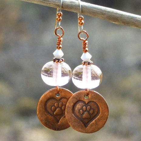 dog paw prints and hearts jewelry