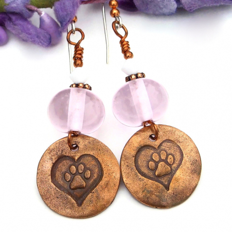 dog paw prints in hearts and pink lampwork dog rescue earrings