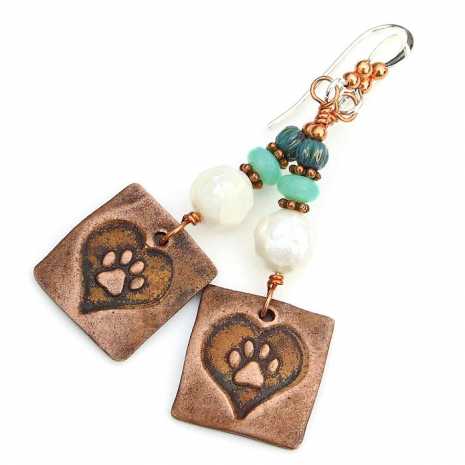 copper heart and paw print dog lover jewelry