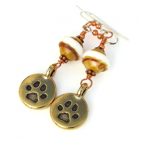 paw print earrings for the dog lover