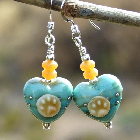 dog paw prints and hearts earrings valentines mothers day gift