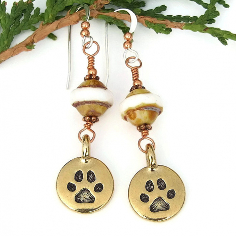 gold dog paw print earrings for her