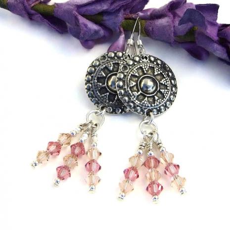Sparkling boho gypsy earrings.