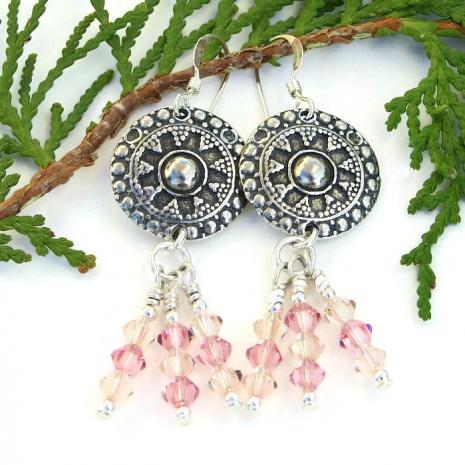 Boho shield earrings.