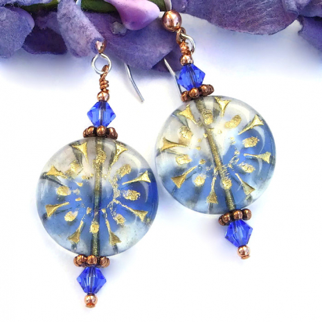 Blue and clear flower earrings with sapphire crystals.