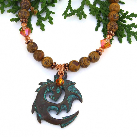 dragon necklace with fire opal Swarovski crystals and elephant skin jasper