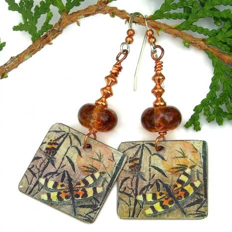 dragonflies on copper artisan earrings