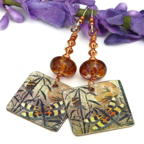 dragonflies on copper artisan jewelry