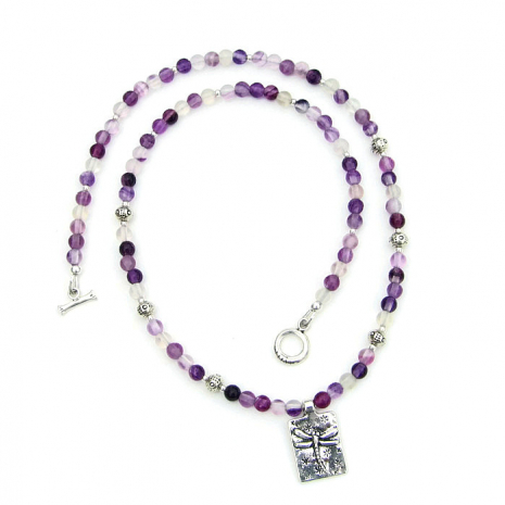 dragonfly and purple gemstone necklace