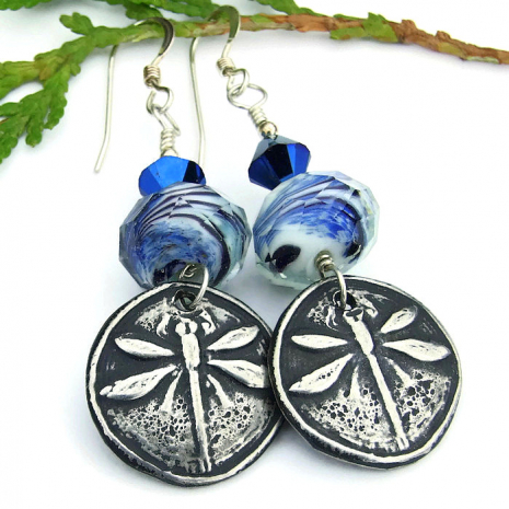 dragonfly and blue glass earrings