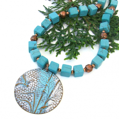 dragonfly bamboo jewelry square turquoise magnesite