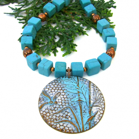dragonfly bamboo necklace square turquoise magnesite