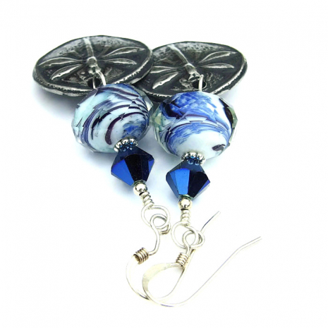 dragonfly and blue glass jewelry
