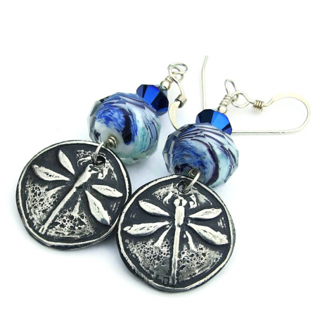 silver and blue dragonfly earrings gift idea for her